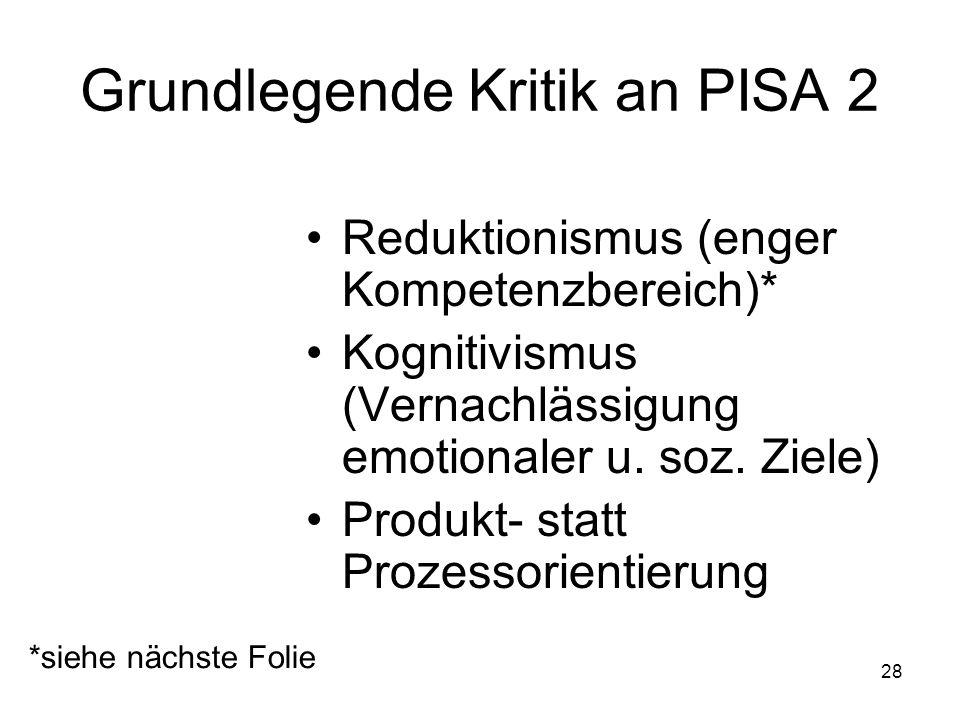 27 Grundlegende Kritik an PISA 1 Funktionalistisches Verständnis von Bildung als Kompetenz Ökonomisierung von Bildung Standardisierung Globalisierung