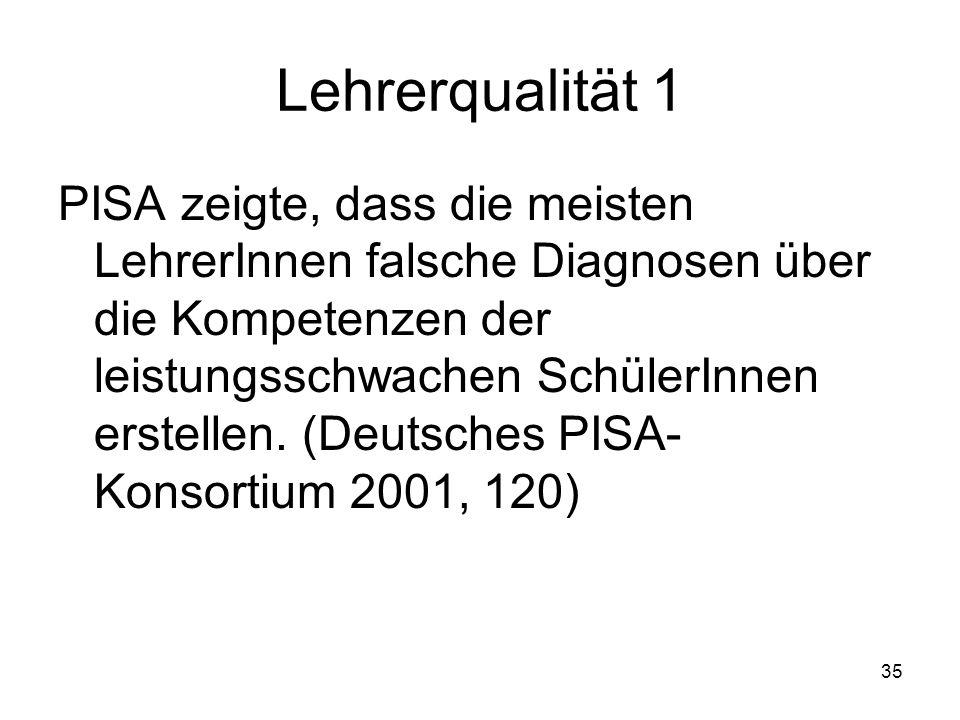 34 Schulklima Deutschland liegt bezüglich des Schulklimas (Befragungen von Schülern und Schulleitern) im unteren Drittel der OECD-Staaten (OECD 2002).