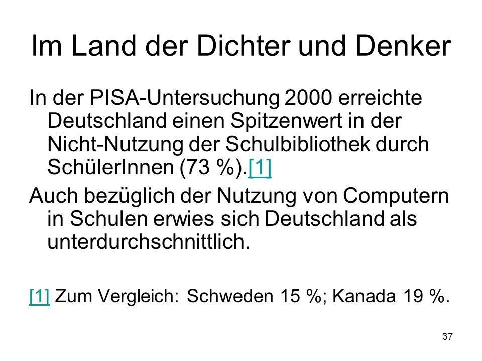 36 Lehrerqualität 2 In der Untersuchung PISA 2003 hat ein signifikant höherer Anteil der deutschen und österreichischen im Vergleich zu schwedischen und australischen SchülerInnen Mängel in der Unterstützung durch LehrerInnen genannt (PISA- Konsortium Deutschland 2004, 300).