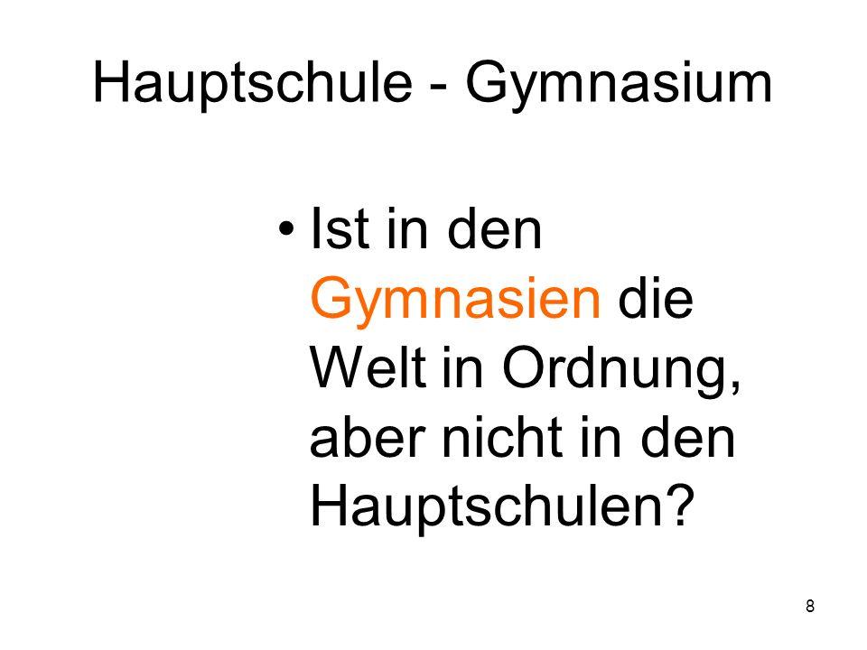 7 Hauptschule Realschule Haupt- + Sonderschule Realschule Gymnasium Obere Dienstklasse Facharbeiter Benachteil.