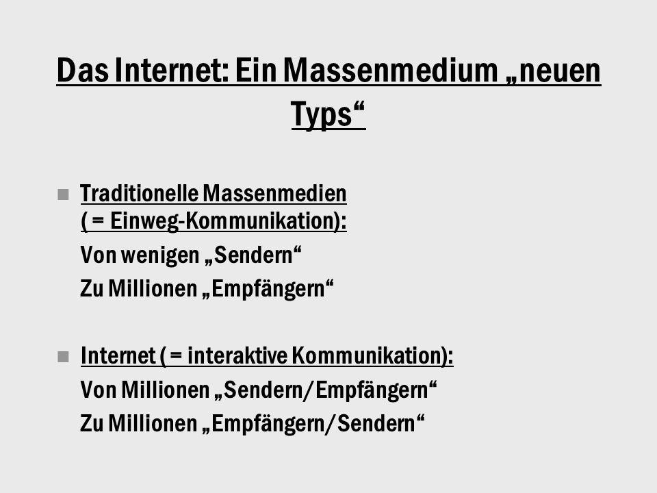 """Das Internet: Ein Massenmedium """"neuen Typs Traditionelle Massenmedien ( = Einweg-Kommunikation): Von wenigen """"Sendern Zu Millionen """"Empfängern Internet ( = interaktive Kommunikation): Von Millionen """"Sendern/Empfängern Zu Millionen """"Empfängern/Sendern"""