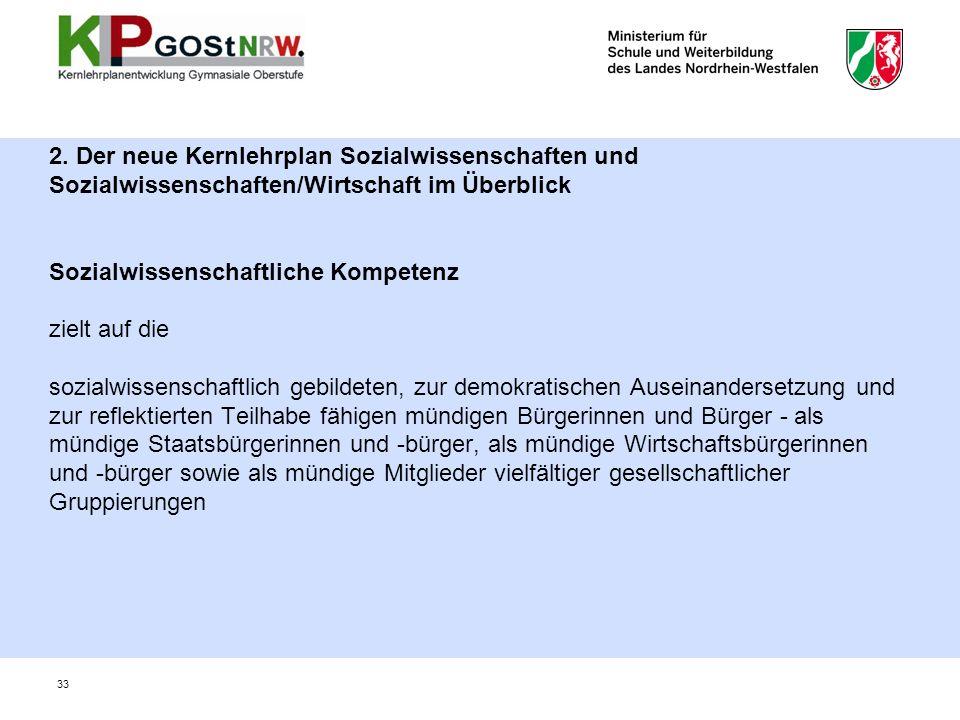 2. Der neue Kernlehrplan Sozialwissenschaften und Sozialwissenschaften/Wirtschaft im Überblick Sozialwissenschaftliche Kompetenz zielt auf die sozialw