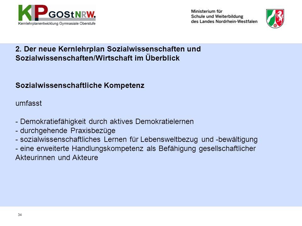 2. Der neue Kernlehrplan Sozialwissenschaften und Sozialwissenschaften/Wirtschaft im Überblick Sozialwissenschaftliche Kompetenz umfasst - Demokratief