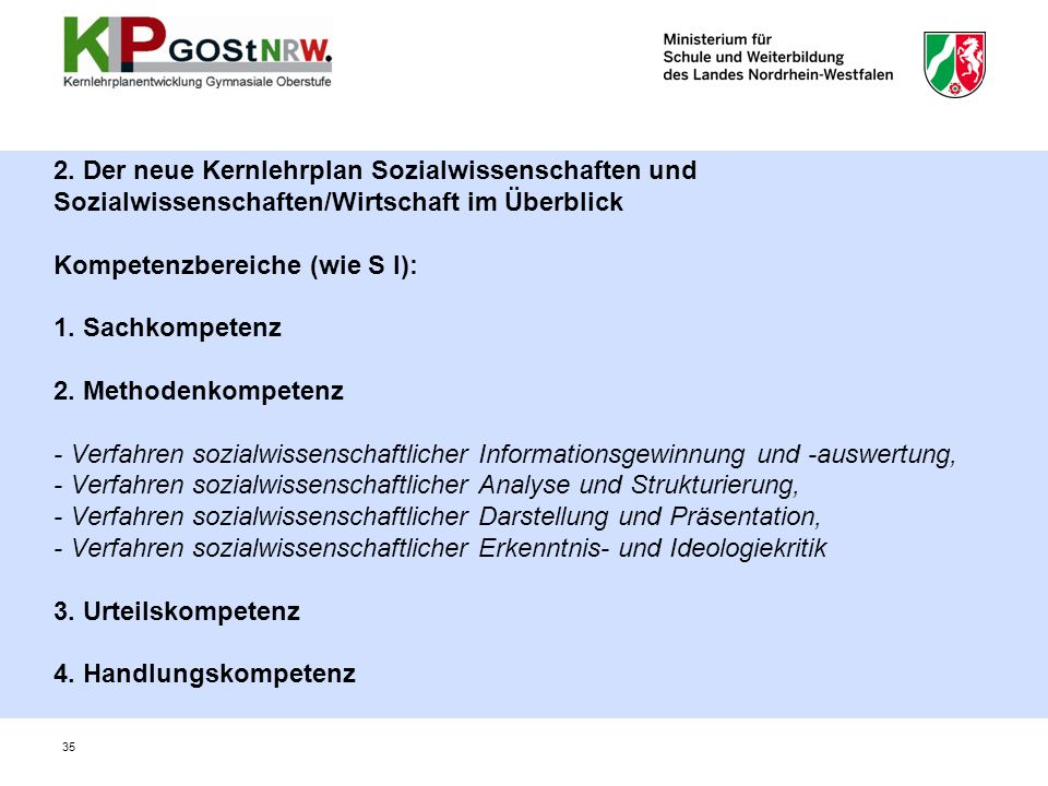 2. Der neue Kernlehrplan Sozialwissenschaften und Sozialwissenschaften/Wirtschaft im Überblick Kompetenzbereiche (wie S I): 1. Sachkompetenz 2. Method