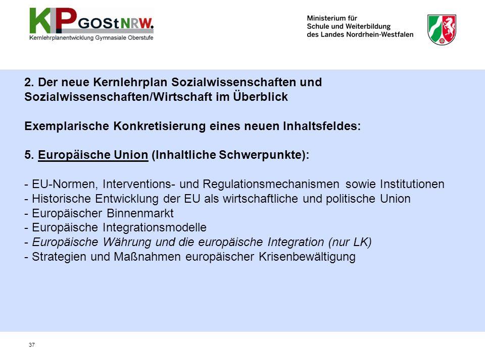 2. Der neue Kernlehrplan Sozialwissenschaften und Sozialwissenschaften/Wirtschaft im Überblick Exemplarische Konkretisierung eines neuen Inhaltsfeldes