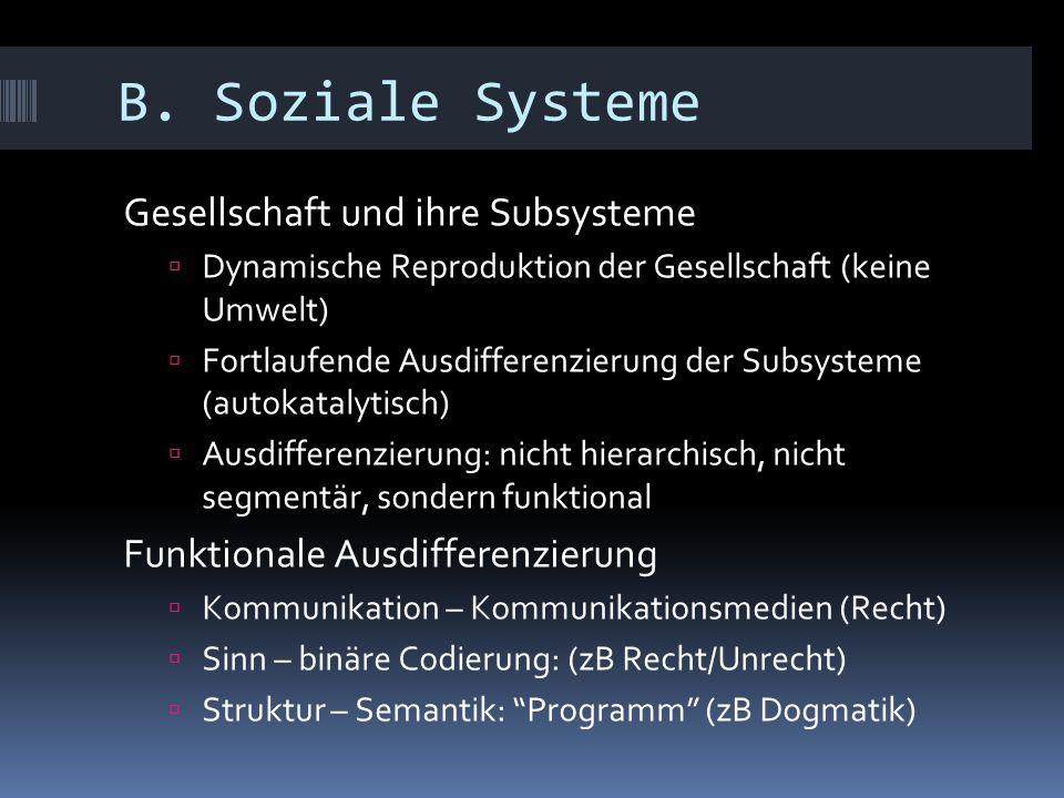 B. Soziale Systeme Gesellschaft und ihre Subsysteme  Dynamische Reproduktion der Gesellschaft (keine Umwelt)  Fortlaufende Ausdifferenzierung der Su