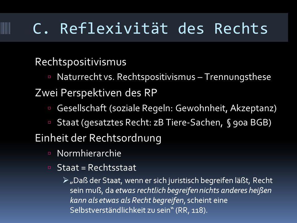 C. Reflexivität des Rechts Rechtspositivismus  Naturrecht vs.