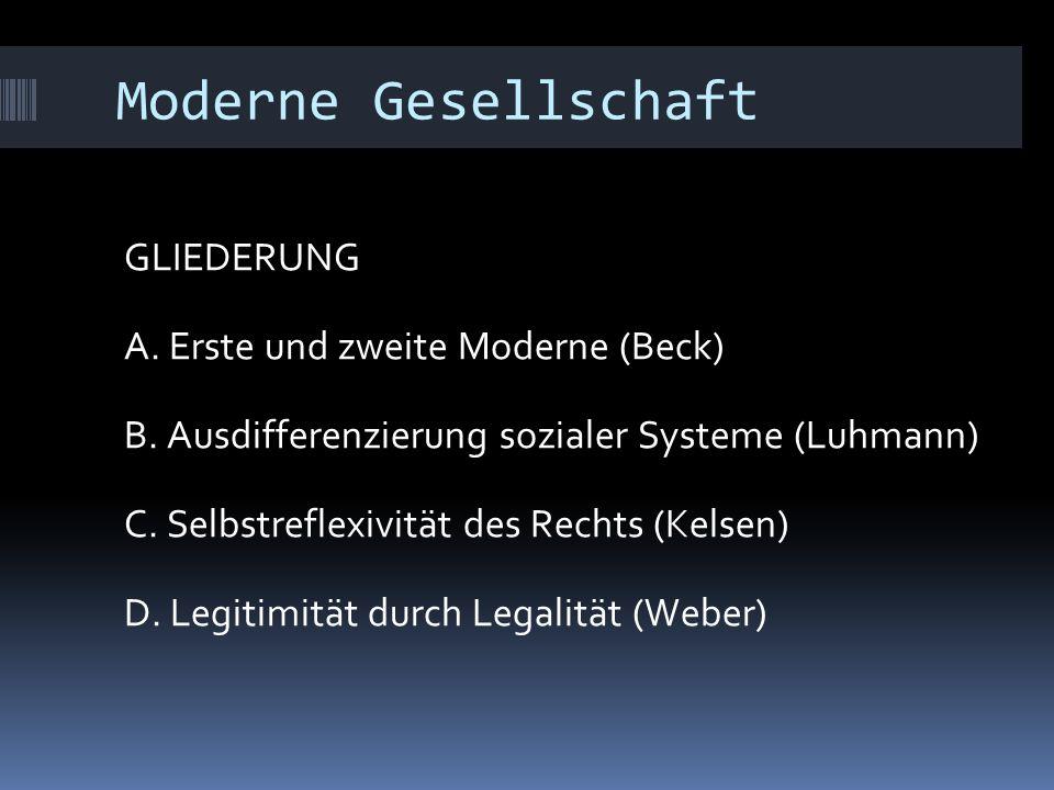 Moderne Gesellschaft GLIEDERUNG A. Erste und zweite Moderne (Beck) B.