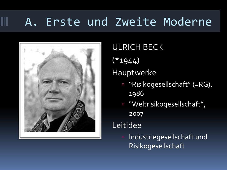 """A. Erste und Zweite Moderne ULRICH BECK (*1944) Hauptwerke  """"Risikogesellschaft"""" (=RG), 1986  """"Weltrisikogesellschaft"""", 2007 Leitidee  Industrieges"""