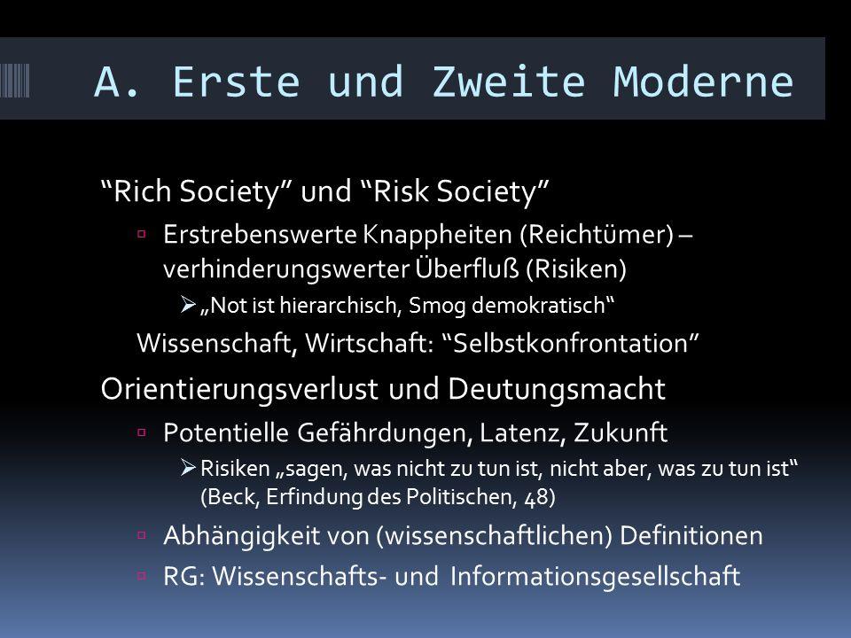 """A. Erste und Zweite Moderne """"Rich Society"""" und """"Risk Society""""  Erstrebenswerte Knappheiten (Reichtümer) – verhinderungswerter Überfluß (Risiken)  """"N"""
