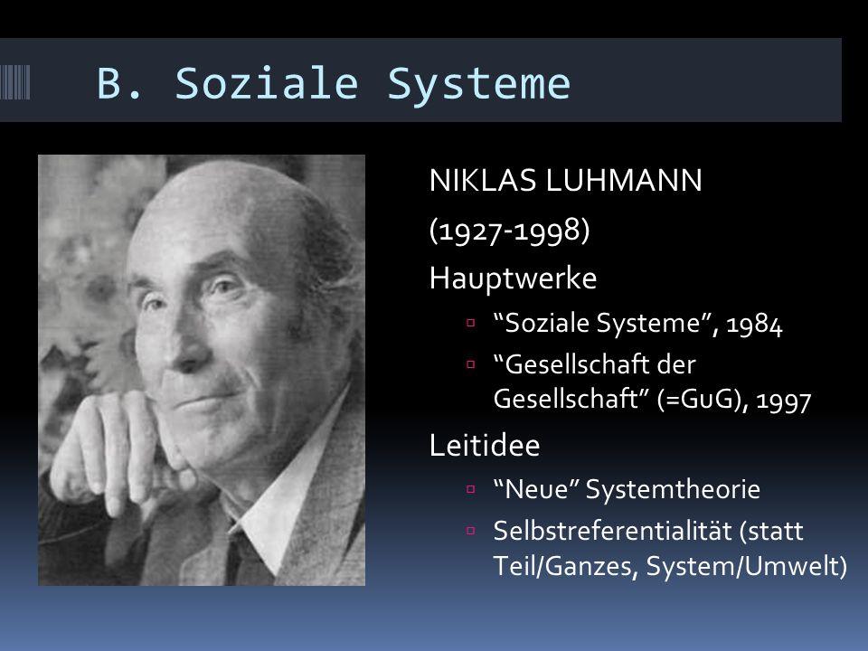 "B. Soziale Systeme NIKLAS LUHMANN (1927-1998) Hauptwerke  ""Soziale Systeme"", 1984  ""Gesellschaft der Gesellschaft"" (=GuG), 1997 Leitidee  ""Neue"" Sy"