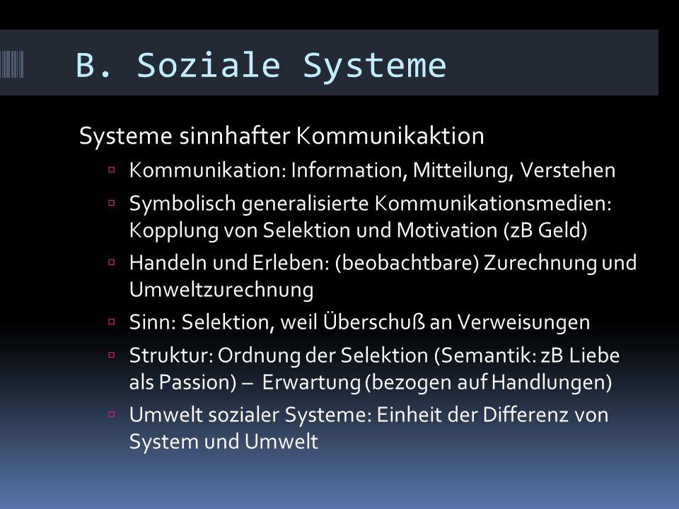 B. Soziale Systeme Systeme sinnhafter Kommunikaktion  Kommunikation: Information, Mitteilung, Verstehen  Symbolisch generalisierte Kommunikationsmed