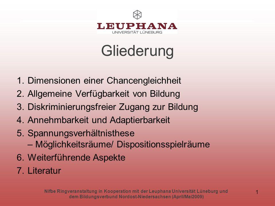 Nifbe Ringveranstaltung in Kooperation mit der Leuphana Universität Lüneburg und dem Bildungsverbund Nordost-Niedersachsen (April/Mai2009) 2 Dimensionen einer Chancengleichheit