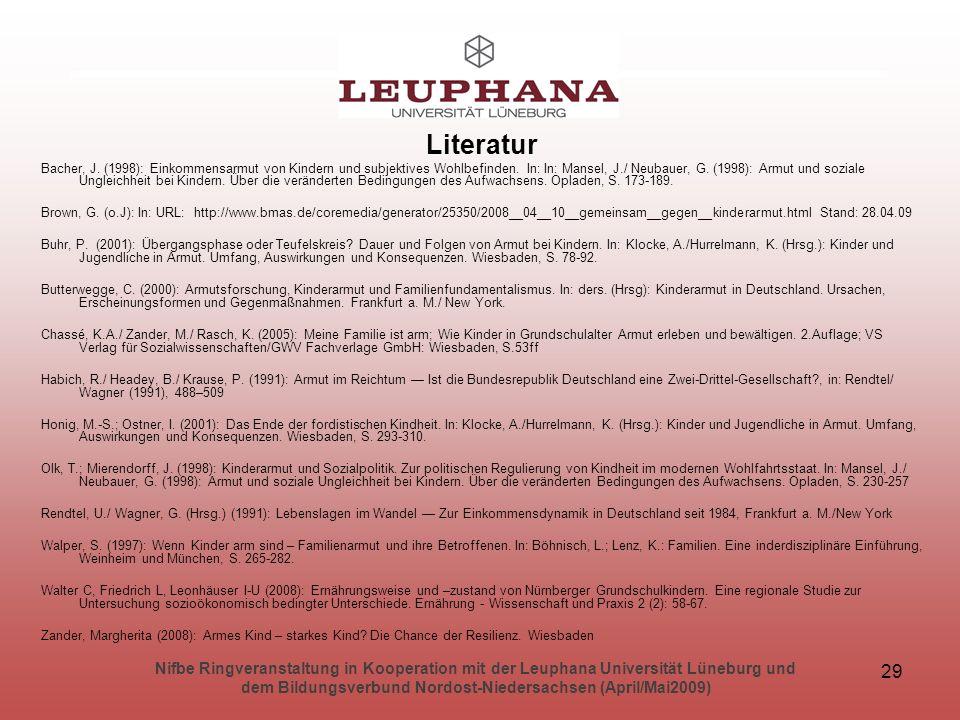 Nifbe Ringveranstaltung in Kooperation mit der Leuphana Universität Lüneburg und dem Bildungsverbund Nordost-Niedersachsen (April/Mai2009) 29 Literatur Bacher, J.