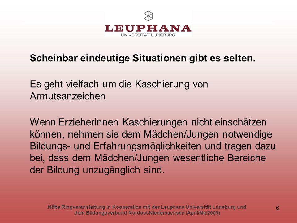 Nifbe Ringveranstaltung in Kooperation mit der Leuphana Universität Lüneburg und dem Bildungsverbund Nordost-Niedersachsen (April/Mai2009) 27 Lebensbereiche/ Spielräume: 1.
