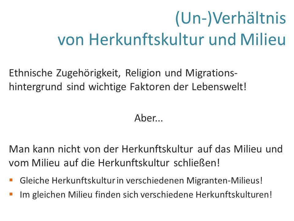 (Un-)Verhältnis von Herkunftskultur und Milieu Ethnische Zugehörigkeit, Religion und Migrations- hintergrund sind wichtige Faktoren der Lebenswelt.