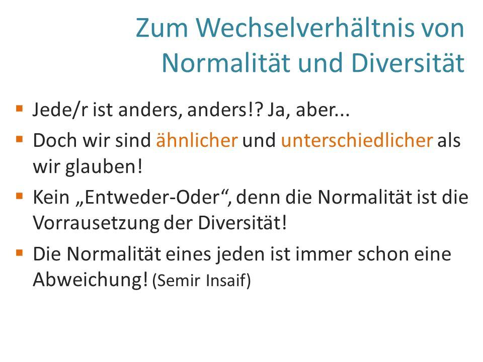 Zum Wechselverhältnis von Normalität und Diversität  Jede/r ist anders, anders!.