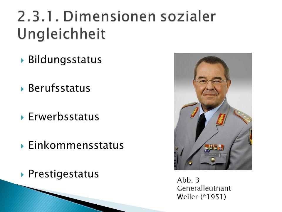  Bildungsstatus  Berufsstatus  Erwerbsstatus  Einkommensstatus  Prestigestatus Abb. 3 Generalleutnant Weiler (*1951)