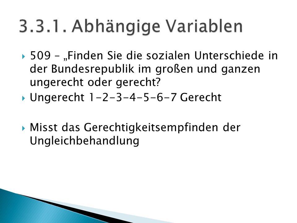 """ 509 – """"Finden Sie die sozialen Unterschiede in der Bundesrepublik im großen und ganzen ungerecht oder gerecht?  Ungerecht 1-2-3-4-5-6-7 Gerecht  M"""