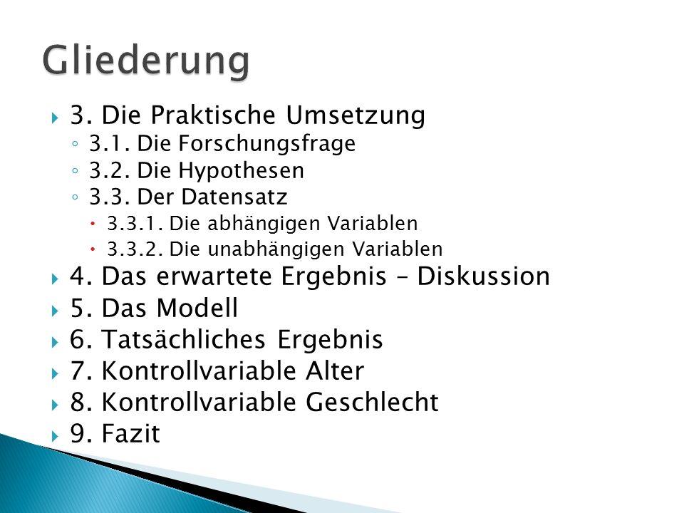  3. Die Praktische Umsetzung ◦ 3.1. Die Forschungsfrage ◦ 3.2. Die Hypothesen ◦ 3.3. Der Datensatz  3.3.1. Die abhängigen Variablen  3.3.2. Die una
