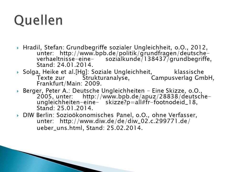  Hradil, Stefan: Grundbegriffe sozialer Ungleichheit, o.O., 2012, unter: http://www.bpb.de/politik/grundfragen/deutsche- verhaeltnisse-eine-sozialkun
