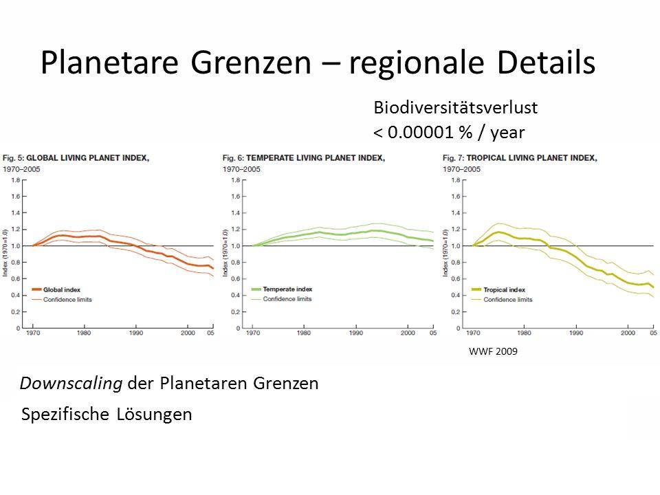 12 Planetare Grenzen – regionale Details Biodiversitätsverlust < 0.00001 % / year Downscaling der Planetaren Grenzen Spezifische Lösungen WWF 2009