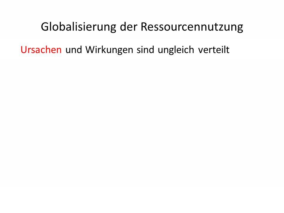 Ursachen und Wirkungen sind ungleich verteilt Globalisierung der Ressourcennutzung