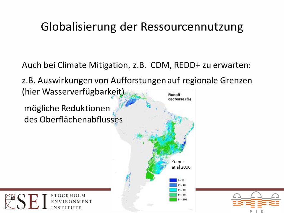 Globalisierung der Ressourcennutzung Auch bei Climate Mitigation, z.B. CDM, REDD+ zu erwarten: Zomer et al 2006 z.B. Auswirkungen von Aufforstungen au
