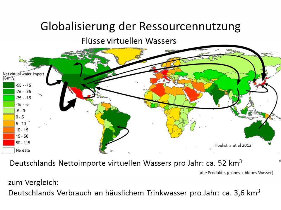 Globalisierung der Ressourcennutzung zum Vergleich: Deutschlands Verbrauch an häuslichem Trinkwasser pro Jahr: ca. 3,6 km 3 Hoekstra et al 2012 Deutsc