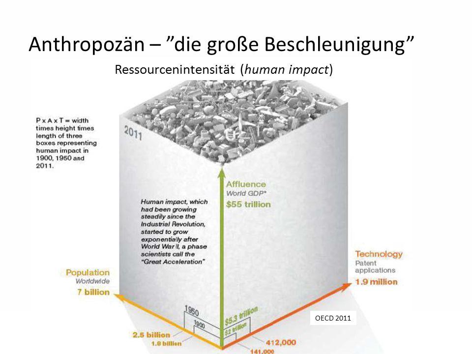 """7 Anthropozän – """"die große Beschleunigung"""" OECD 2011 Ressourcenintensität (human impact)"""