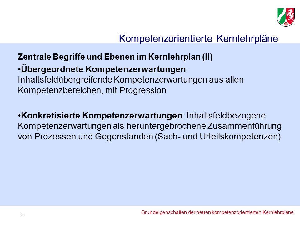 Zentrale Begriffe und Ebenen im Kernlehrplan (II) Übergeordnete Kompetenzerwartungen: Inhaltsfeldübergreifende Kompetenzerwartungen aus allen Kompetenzbereichen, mit Progression Konkretisierte Kompetenzerwartungen: Inhaltsfeldbezogene Kompetenzerwartungen als heruntergebrochene Zusammenführung von Prozessen und Gegenständen (Sach- und Urteilskompetenzen) Kompetenzorientierte Kernlehrpläne Grundeigenschaften der neuen kompetenzorientierten Kernlehrpläne 15