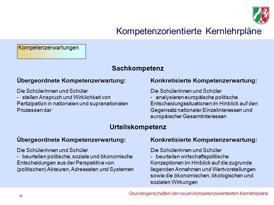 Sachkompetenz Übergeordnete Kompetenzerwartung: Die Schülerinnen und Schüler -stellen Anspruch und Wirklichkeit von Partizipation in nationalen und supranationalen Prozessen dar Konkretisierte Kompetenzerwartung: Die Schülerinnen und Schüler -analysieren europäische politische Entscheidungssituationen im Hinblick auf den Gegensatz nationaler Einzelinteressen und europäischer Gesamtinteressen Urteilskompetenz Übergeordnete Kompetenzerwartung: Die Schülerinnen und Schüler -beurteilen politische, soziale und ökonomische Entscheidungen aus der Perspektive von (politischen) Akteuren, Adressaten und Systemen Konkretisierte Kompetenzerwartung: Die Schülerinnen und Schüler -beurteilen wirtschaftspolitische Konzeptionen im Hinblick auf die zugrunde liegenden Annahmen und Wertvorstellungen sowie die ökonomischen, ökologischen und sozialen Wirkungen Kompetenzorientierte Kernlehrpläne Kompetenzerwartungen Grundeigenschaften der neuen kompetenzorientierten Kernlehrpläne 16