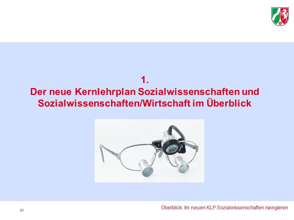 1. Der neue Kernlehrplan Sozialwissenschaften und Sozialwissenschaften/Wirtschaft im Überblick Überblick: Im neuen KLP Sozialwissenschaften navigieren