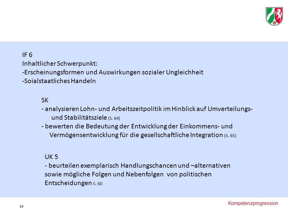 Kompetenzprogression IF 6 Inhaltlicher Schwerpunkt: -Erscheinungsformen und Auswirkungen sozialer Ungleichheit -Soialstaatliches Handeln SK - analysieren Lohn- und Arbeitszeitpolitik im Hinblick auf Umverteilungs- und Stabilitätsziele (S.