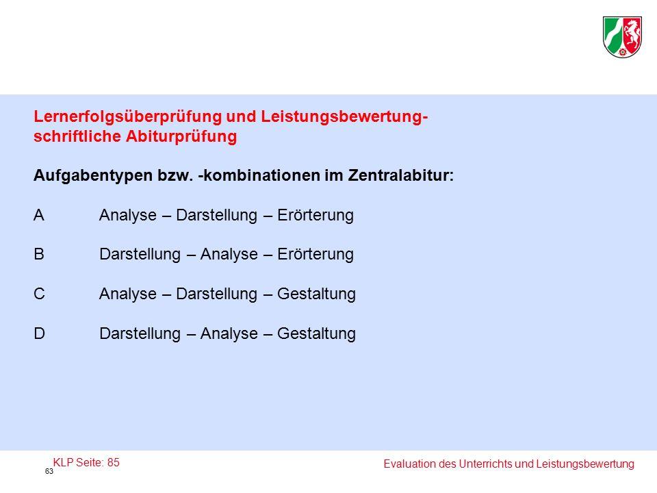 Lernerfolgsüberprüfung und Leistungsbewertung- schriftliche Abiturprüfung Aufgabentypen bzw.