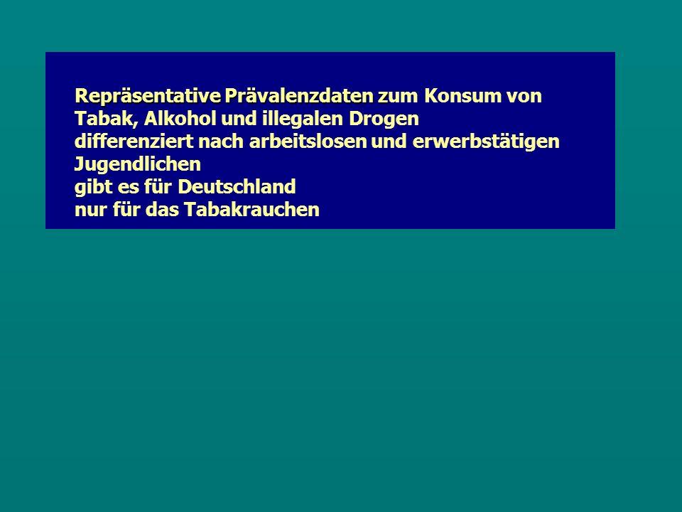 Repräsentative Prävalenzdaten z Repräsentative Prävalenzdaten zum Konsum von Tabak, Alkohol und illegalen Drogen differenziert nach arbeitslosen und erwerbstätigen Jugendlichen gibt es für Deutschland nur für das Tabakrauchen