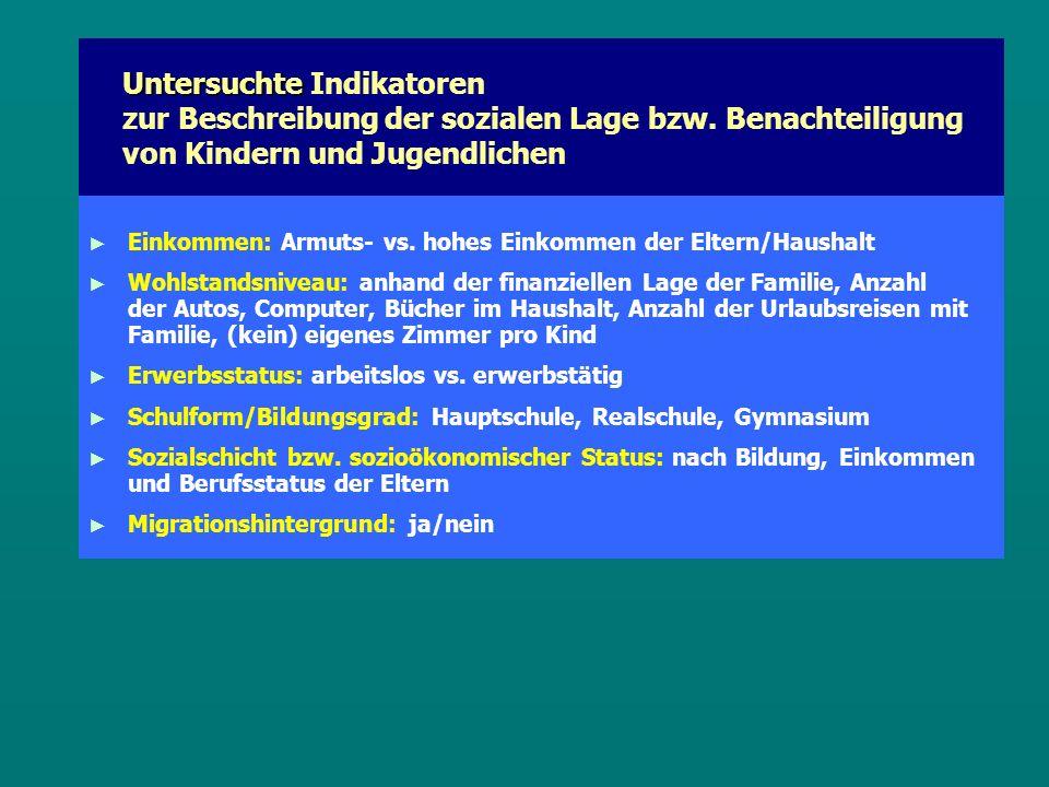 Untersuchte Untersuchte Indikatoren zur Beschreibung der sozialen Lage bzw.