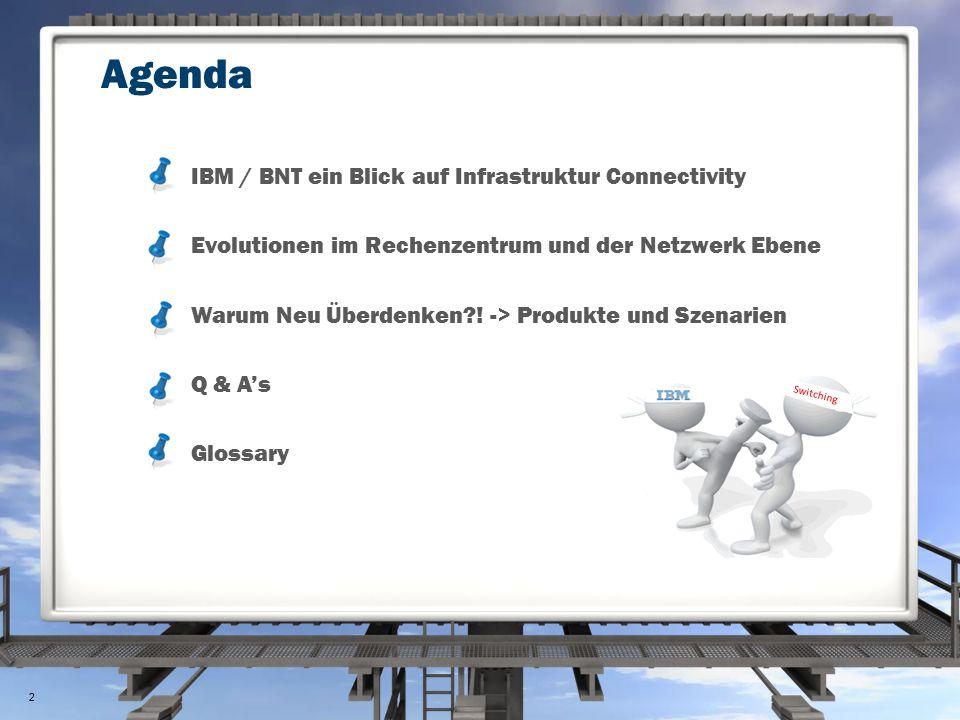 #1: IBM System Networking Ein Blick auf Konnektivität IBM entwickelt DC Class Switching 1998 Gigabit Ethernet 1973 1980 1990 2000 2011 1973 Invented by Bob Metcalf 1982 Ethernet IEEE 802.3 standard 1995 Fast Ethernet 2003 10Gbit 2010 40Gbit Data Center Bridging 2012 100Gbit Data Center Class Switching DCB, vLAG, TRILL Virtual aware Data Center LAN VMReady™, 802.1Qbg Optimized System Network vNIC / Energy efficient 3