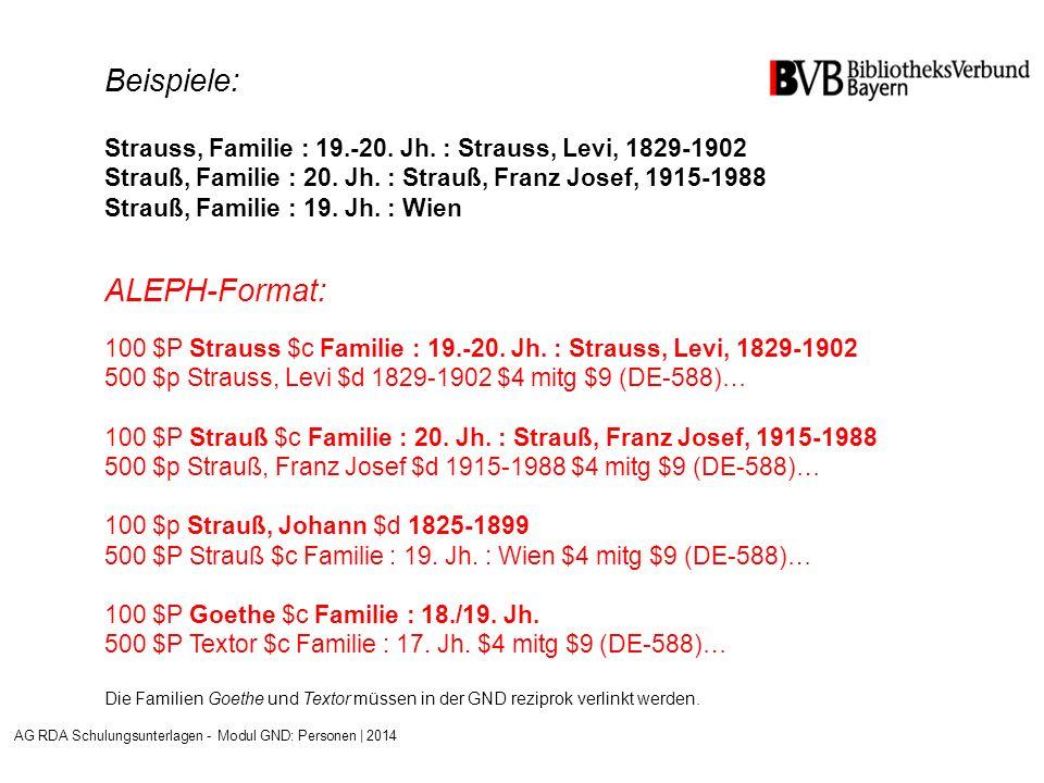 Beispiele: Strauss, Familie : 19.-20.Jh. : Strauss, Levi, 1829-1902 Strauß, Familie : 20.