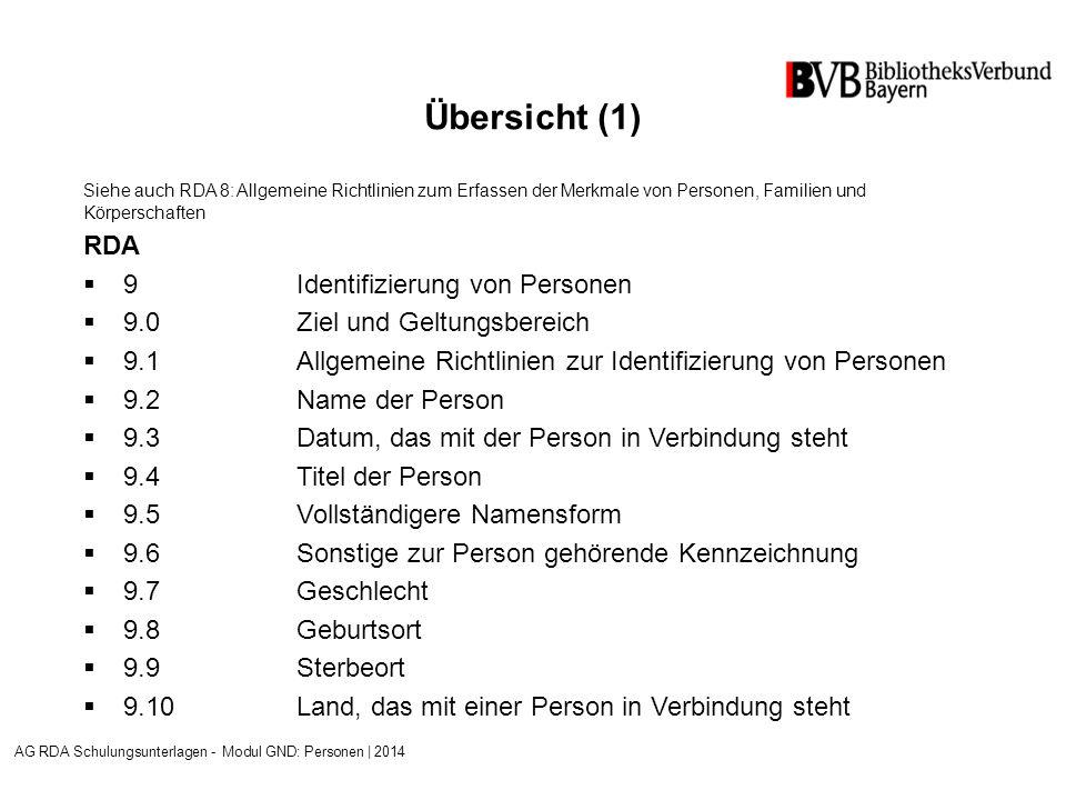 Übersicht (1) Siehe auch RDA 8: Allgemeine Richtlinien zum Erfassen der Merkmale von Personen, Familien und Körperschaften RDA  9Identifizierung von Personen  9.0 Ziel und Geltungsbereich  9.1Allgemeine Richtlinien zur Identifizierung von Personen  9.2Name der Person  9.3Datum, das mit der Person in Verbindung steht  9.4Titel der Person  9.5Vollständigere Namensform  9.6Sonstige zur Person gehörende Kennzeichnung  9.7Geschlecht  9.8Geburtsort  9.9Sterbeort  9.10Land, das mit einer Person in Verbindung steht AG RDA Schulungsunterlagen - Modul GND: Personen | 2014