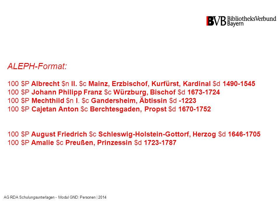 ALEPH-Format: 100 $P Albrecht $n II.