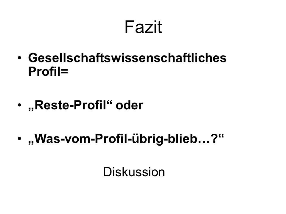 """Fazit Gesellschaftswissenschaftliches Profil= """"Reste-Profil oder """"Was-vom-Profil-übrig-blieb… Diskussion"""