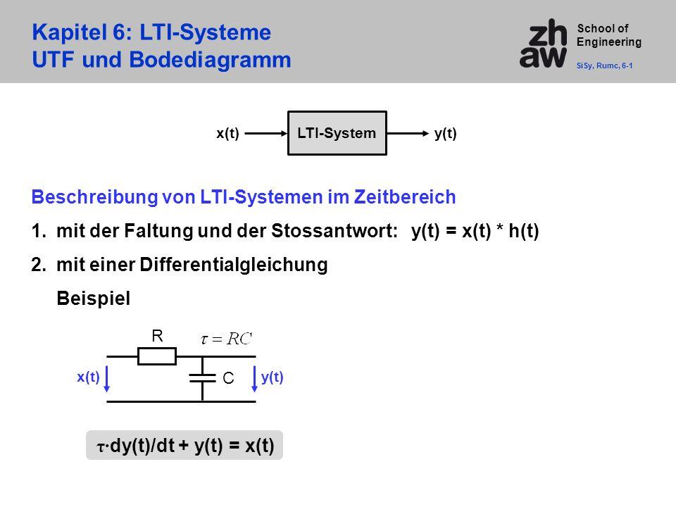 School of Engineering Kapitel 6: LTI-Systeme UTF und Bodediagramm SiSy, Rumc, 6-1 Beschreibung von LTI-Systemen im Zeitbereich 1.mit der Faltung und der Stossantwort: y(t) = x(t) * h(t) 2.