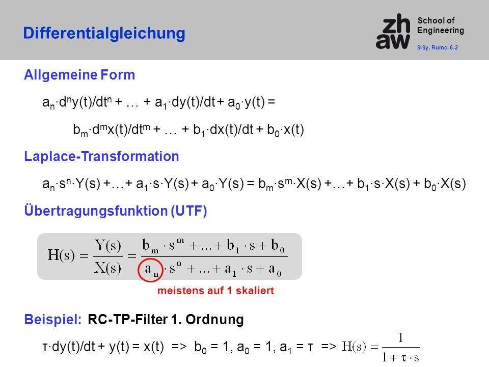 School of Engineering Differentialgleichung Allgemeine Form a n ·d n y(t)/dt n + … + a 1 ·dy(t)/dt + a 0 ·y(t) = b m ·d m x(t)/dt m + … + b 1 ·dx(t)/dt + b 0 ·x(t) Laplace-Transformation a n ·s n ·Y(s) +…+ a 1 ·s·Y(s) + a 0 ·Y(s) = b m ·s m ·X(s) +…+ b 1 ·s·X(s) + b 0 ·X(s) Übertragungsfunktion (UTF) Beispiel: RC-TP-Filter 1.
