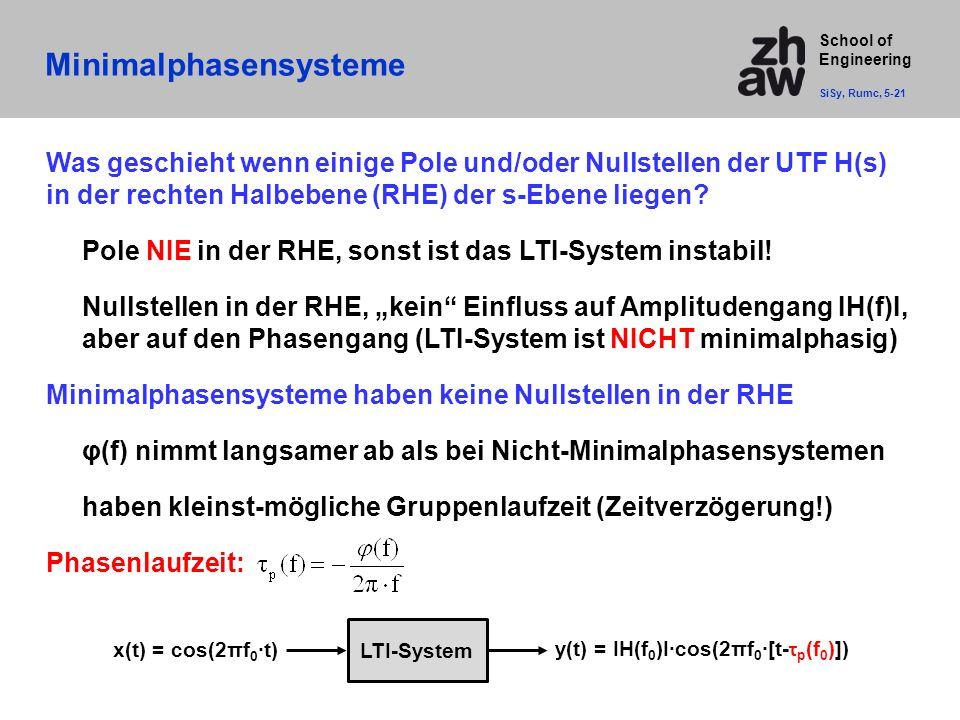School of Engineering Was geschieht wenn einige Pole und/oder Nullstellen der UTF H(s) in der rechten Halbebene (RHE) der s-Ebene liegen? Pole NIE in