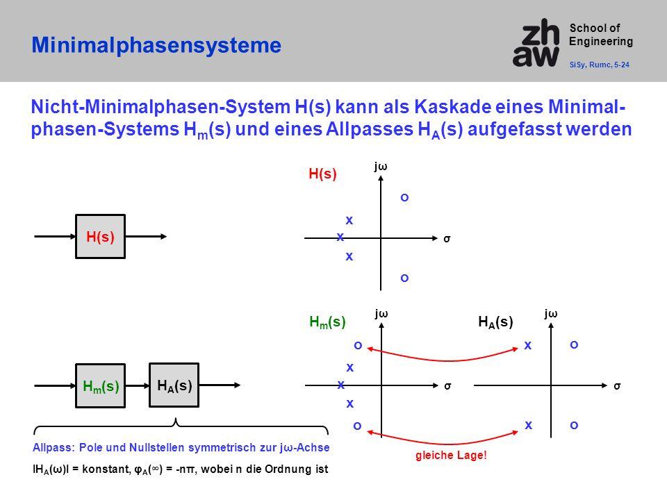 School of Engineering Minimalphasensysteme SiSy, Rumc, 5-24 H(s) jωjω σ x x o o x H m (s) jωjω σ x x o o x H A (s) jωjω σ x x o o Nicht-Minimalphasen-System H(s) kann als Kaskade eines Minimal- phasen-Systems H m (s) und eines Allpasses H A (s) aufgefasst werden H(s) H m (s) H A (s) Allpass: Pole und Nullstellen symmetrisch zur jω-Achse IH A (ω)I = konstant, φ A (∞) = -nπ, wobei n die Ordnung ist gleiche Lage!