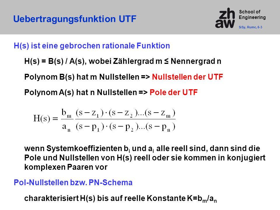 School of Engineering Uebertragungsfunktion UTF H(s) ist eine gebrochen rationale Funktion H(s) = B(s) / A(s), wobei Zählergrad m ≤ Nennergrad n Polynom B(s) hat m Nullstellen => Nullstellen der UTF Polynom A(s) hat n Nullstellen => Pole der UTF wenn Systemkoeffizienten b i und a i alle reell sind, dann sind die Pole und Nullstellen von H(s) reell oder sie kommen in konjugiert komplexen Paaren vor Pol-Nullstellen bzw.