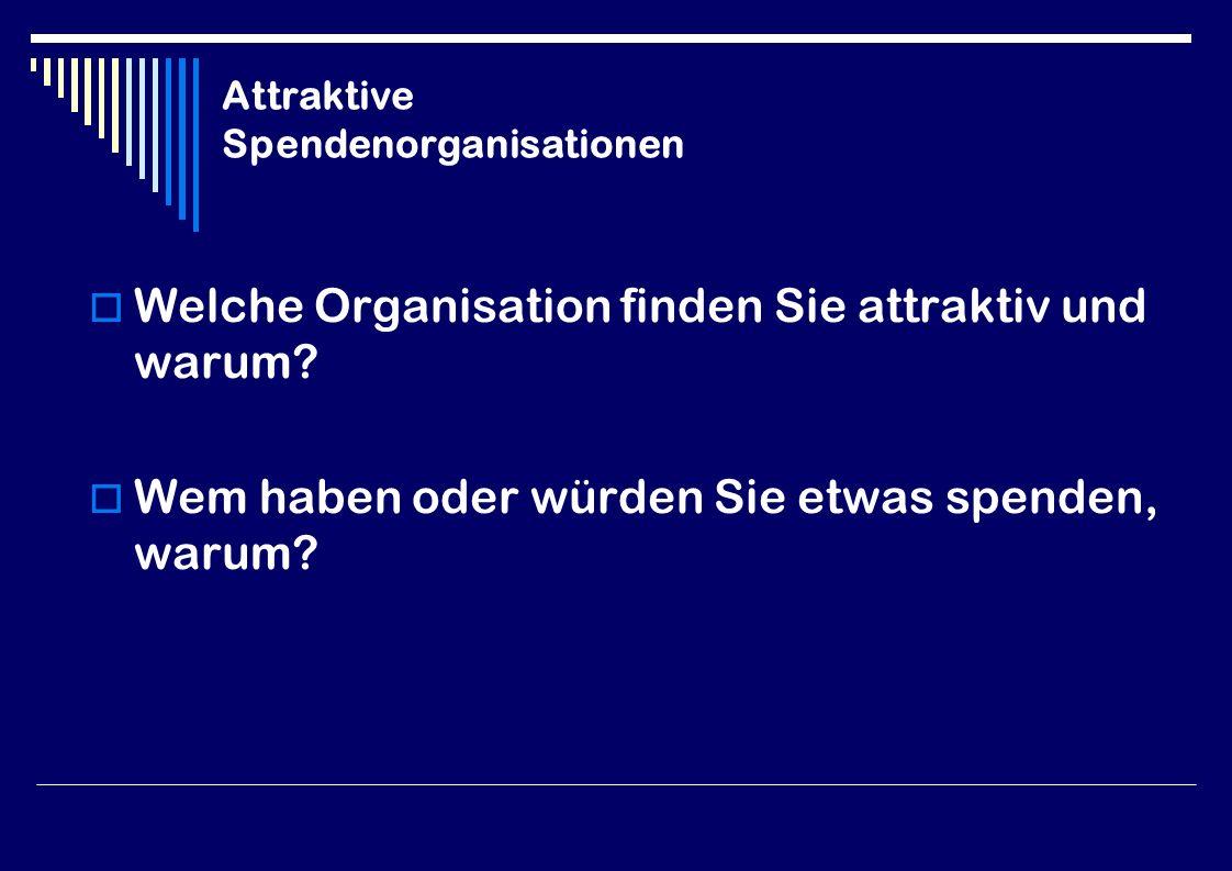 Attraktive Spendenorganisationen  Welche Organisation finden Sie attraktiv und warum.