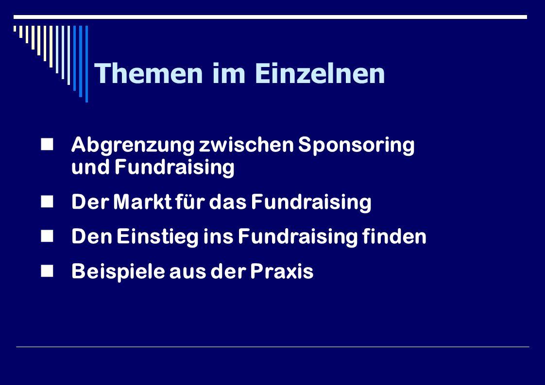 Themen im Einzelnen Abgrenzung zwischen Sponsoring und Fundraising Der Markt für das Fundraising Den Einstieg ins Fundraising finden Beispiele aus der Praxis