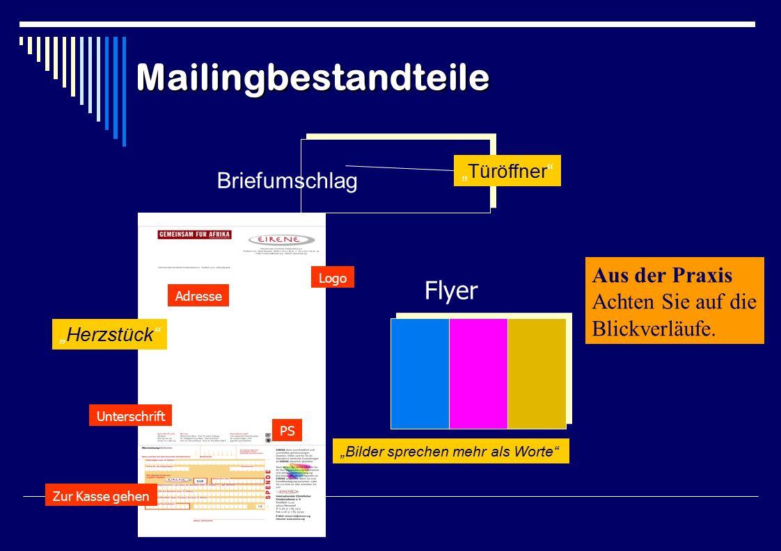 """Briefumschlag Flyer """"Türöffner """"Herzstück """"Bilder sprechen mehr als Worte Adresse Logo Unterschrift PS Zur Kasse gehen Brief Mailingbestandteile Aus der Praxis Achten Sie auf die Blickverläufe."""